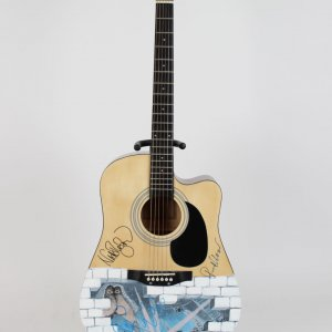 """Pink Floyd """"The Wall"""" Signed Acoustic Guitar Waters, Wright, Mason"""