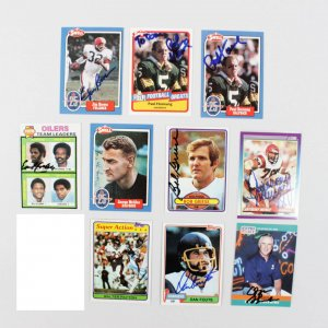 Lot of NFL Signed Football Cards - 10 Sigs. Includes Payton, Griese, Sanders , Brown & Others