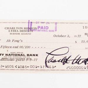 Actor - Charlton Heston Signed Check