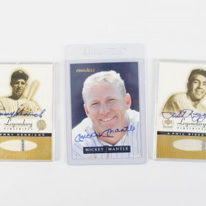 New York Yankees Mantle, Henrich & Rizzuto Signed Baseball Cards