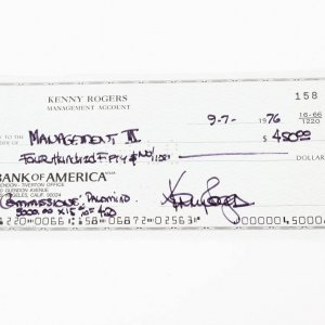 Country Music Superstar HOFer - Kenny Rogers Signed Check