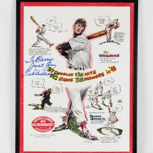 Boston Red Sox Ted Williams Signed 16x20 Advertisement