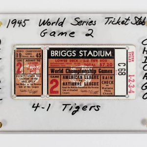 1945 World Series Ticket Stub - Game 2 - Detroit Tigers vs Chicago Cubs
