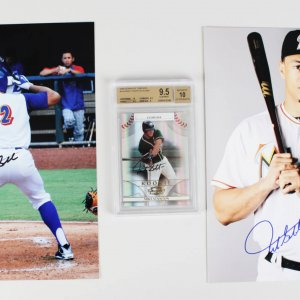 Miami Marlins Mike Stanton Signed Rookie Card & 2 8x10 Photos