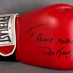 """Don King Signed Everlast Boxing Glove """"To Prince Mohammah"""""""