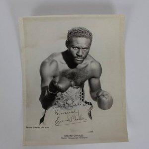 """Rare """"Best Wishes Sincerely Ezzard Charles"""" Signed 8x10 Photo From Ring Magazine Writers Collection"""