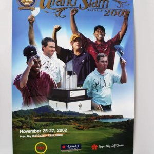Tiger Woods, Davis Love, Justin Leonard, Rich Beam, Signed PGA Grand Slam 2002 Poster