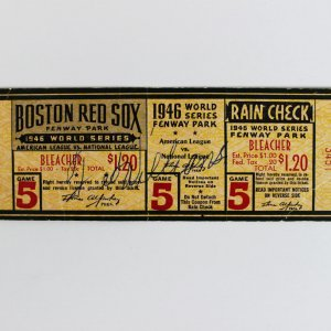 1946 Boston Red Sox Ted Williams Signed World Series Game 5 Ticket