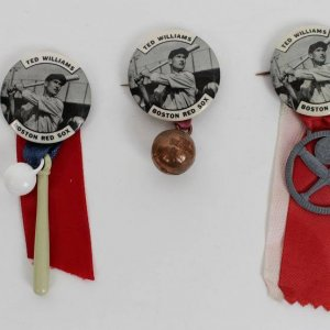 """1950's PM10 Baseball Pin/Button/Coin Ted Williams """"Boston Red Sox"""" with Charm v2"""