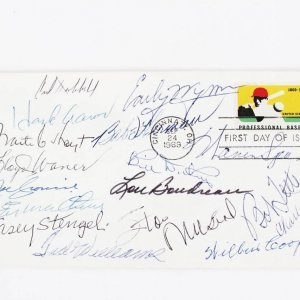 1969 HOF First Day Cover Cachet Signed by 16 - Ted Williams, Casey Stengel, Lloyd Waner etc.