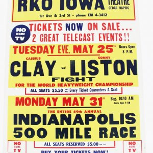 May 31, 1965 - Cassius Clay vs. Sonny Liston RKO Iowa Fight Poster (22x28) Tuesday Evening