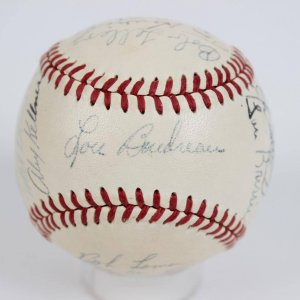 1949 American League All-Star Team Signed OAL (Harridge) Baseball 18 Sigs. Ted Williams, Joe DiMaggio, Johnny Mize et al.