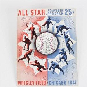 1947 All-Star Game at Wrigley Field Signed Program 40+ Sigs. Incl. Joe DiMaggio, Ted Williams, Joe Cronin etc.
