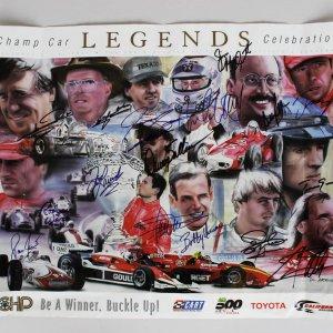 2001 Champ Car Legends Celebration Signed 18x24 Poster 16 Signatures