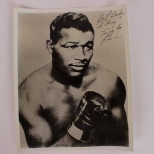 """""""Best Wishes To Tony Sugar Ray Robinson"""" Signed 8x10 From Ring Magazine Writers Collection"""