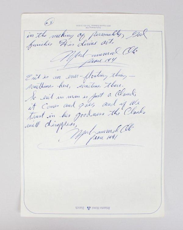 Muhammad Ali Hand Written Poem , Zurich, 26.12.1971