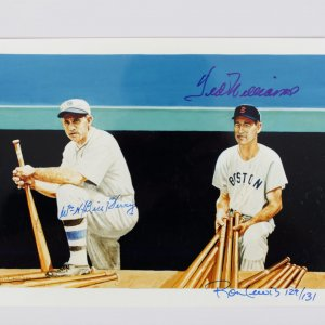 Ted Williams & Bill Terry Signed 8x10 Color Photo Ron lewis Signed 129/131