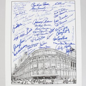 Ebbets Field Lithograph Signed By 62 Players 16x20 Sigs. nclude Pee Wee Reese, Duke Snyder, Tommy Lasorda etc.