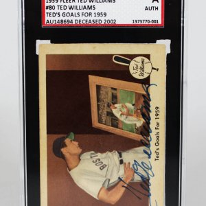 1959 Fleer Boston Red Sox Ted Williams Signed Card SGC