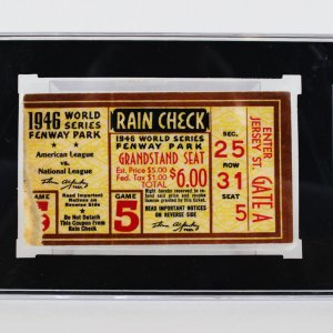 10/11/1946 World Series Ticket Stub Game 5 Red Sox - Cards 3