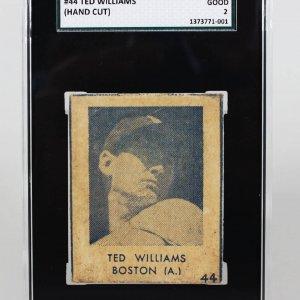 1948 Boston Red Sox Ted Williams R346 Blue Tint #44 (Hand Cut) SGC Good