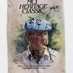Payne Stewart Signed MCI Heritage Classic Cover + 7