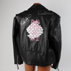 Pink Floyd The Wall Signed Leather Band Jacket Autographed by Richard Wright & Nick Mason