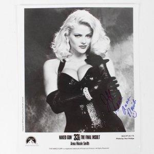 Anna Nicole Smith Signed & Inscribed (Love Smiley Face  ) 8x10 B&W Nake Gun Photo