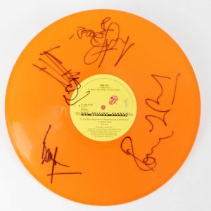 The Rolling Stones- Some Girls Orange Vinyl Record Album Signed by