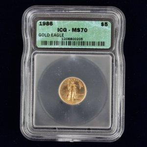 1986 Gold $5 American Half Eagle IGC MS 70
