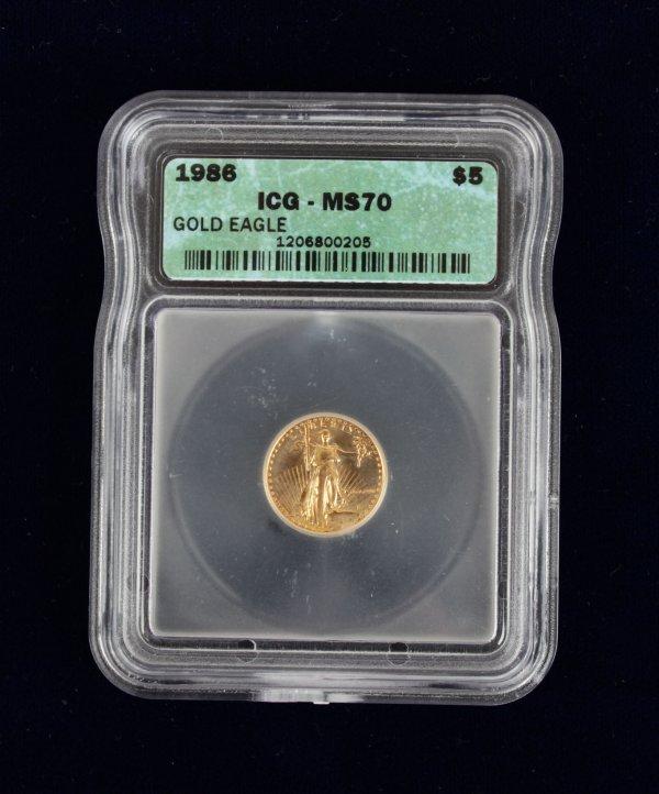 1986 Gold $5 American Half Eagle IGC MS 70