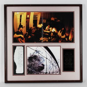 Pearl Jam Eddie Vedder & Band Signed 28x28 Display - With Hand Written Note