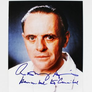 """Silence of the Lambs Actor - Anthony Hopkins Signed, Inscribed """"Hannibal the Cannibal"""" 8x10 Photo (JSA Full LOA)"""