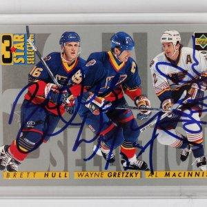 St. Louis Blues Wayne Gretzky, Brett Hull & Al Macinnis Signed Upper Deck Card