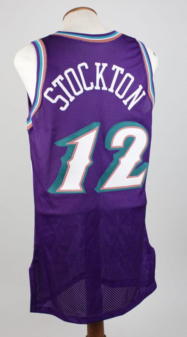 1996-97 - Utah Jazz John Stockton Game-Worn Jersey (50th Anniversary Gold NBA Logo)