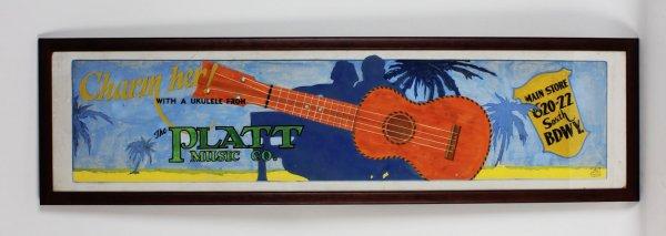1926 - The Platt Music Company Hand-Painted Miniature Billboard (12x41) Display