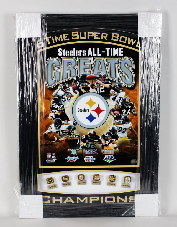 Pittsburgh Steelers - 6 Time Super Bowl Champions 22x32 Ring Display