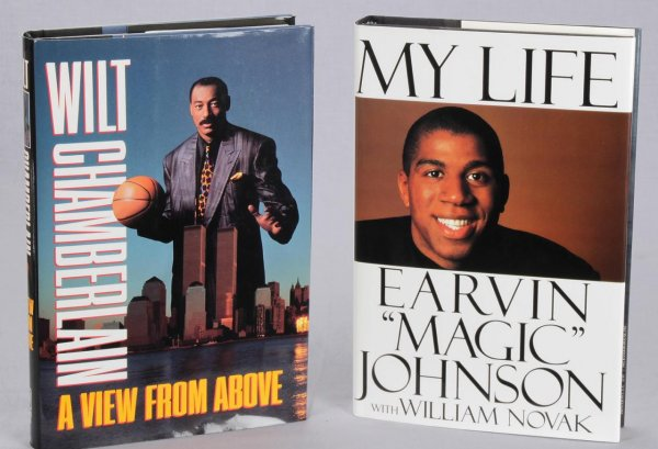 Laker Greats Wilt Chamberlain Signed & Inscribed ( Peace ) Book A View From Above & Magic Johson Signed My Life