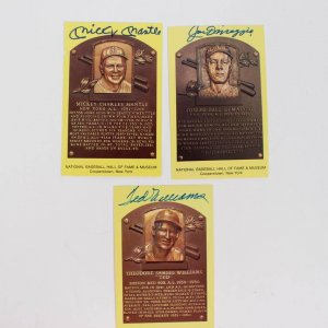 3 Signed Hall of Fame Yellow Postcard Ted Williams, Mickey Mantle, Joe DiMaggio
