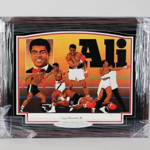 Great - Muhammad Ali Vintage Full Name Signature Signed Lithograph Display LE 90/500 (Artwork by V. Wells )