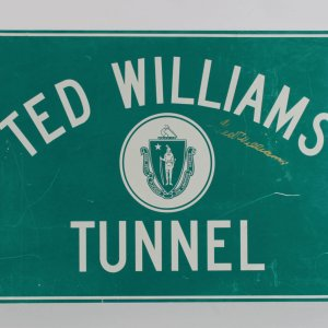 """Boston Red Sox Ted Williams Signed """"Ted Williams Tunnel"""" Sign"""