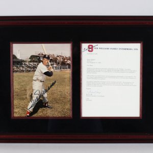Boston Red Sox Ted Williams Signed 17x24 Display