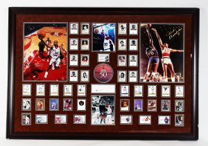 NBA's 50 Greatest Players Signed Display - Jordan, Maravich, Chamberlin, Bird & Others