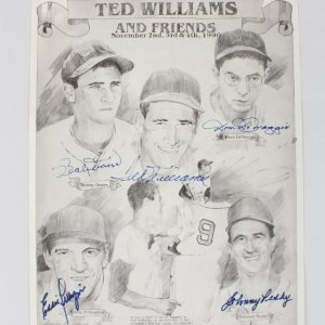 Boston Red Sox Signed 11x14 Print - 5 Sigs. Williams, Doerr, DiMaggio, Pellagrini & Pesky