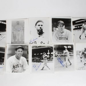 (10) Boston Red Sox Signed 8x10 B&W Photos Lot Incl. Bobby Reeves