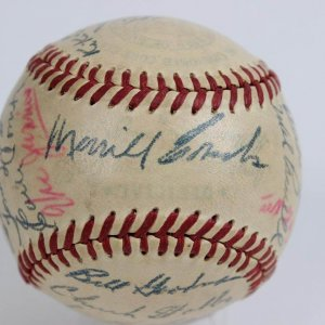 1949 Boston Red Sox Team Signed OAL (Harridge) Baseball 28 Autographs Incl. Ted Williams (MVP)