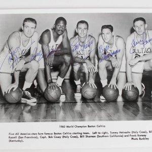 1960 Boston Celtics World Championship Team-Signed 8x10 Photo (5 Signatures) Russel