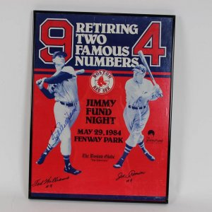 """1984 Boston Red Sox - Ted Williams & Joe Cronin Jersey Number Retirement """"Jimmy Fund"""" Poster Signed by Ted Williams 16x22 Display"""
