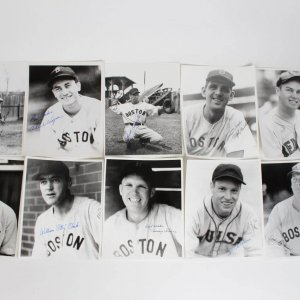Boston Red Sox Signed 8x10 B&W Photos (10) Lot Incl. Charlie Wagner