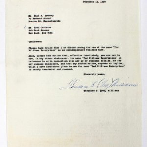 """Boston Red Sox Vintage Theodore  S. (Ted) Williams  Signed Typed Letter """"To Attorney"""" Dated December 13"""